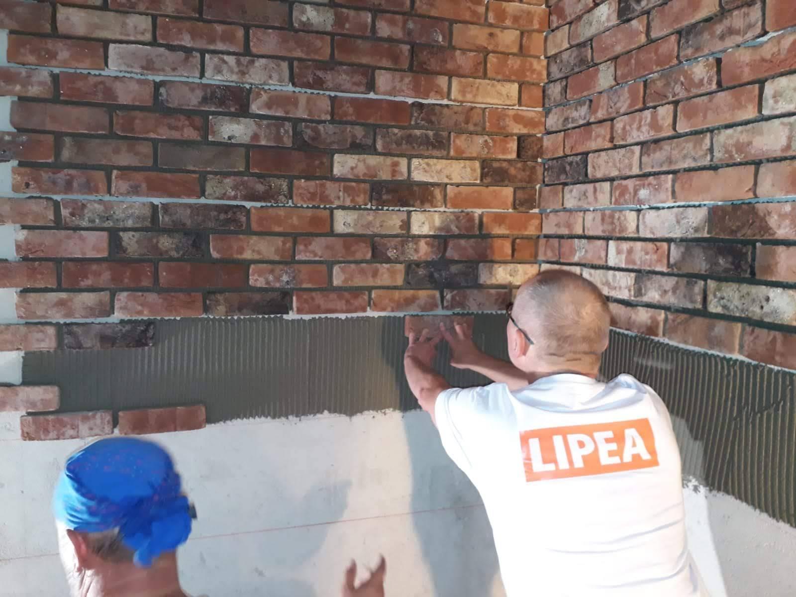 LIPEA - lepení a spárování cihlových pásků/ montáž lícového zdiva
